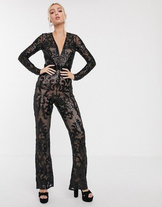 Goddiva mesh sequin wide leg jumpsuit in black