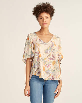 Lush Nude Floral Flowy Blouse