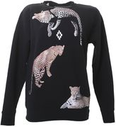 Marcelo Burlon County of Milan White Tiger Printed Black Cotton Sweater