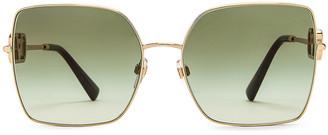 Valentino Metal Square Sunglasses in Green & Gold | FWRD