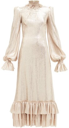 The Vampire's Wife The Cinderella High-neck Ruffled Lame Dress - Gold