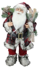 Northlight Alpine Standing Santa Claus with Frosted Pine Furry Boots and Skis Christmas Figure
