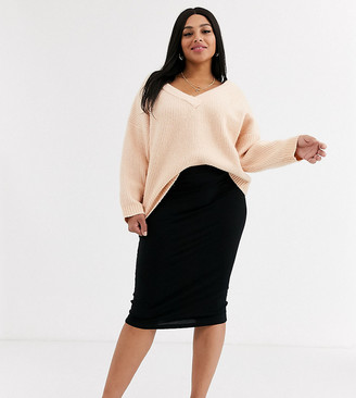 ASOS DESIGN Curve jersey pencil midi skirt in black
