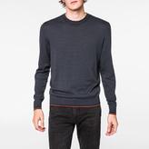 Paul Smith Men's Petrol Blue Fine-Stripe Combed Cotton-Blend Sweater