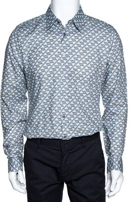 Gucci Light Blue Horsebit Print Cotton Long Sleeve Slim Fit Shirt M