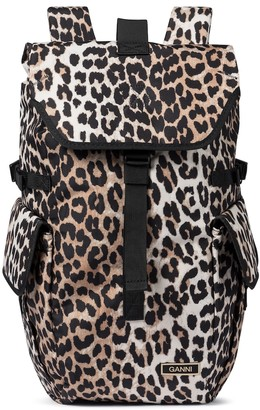 Ganni Recycled leopard-print backpack