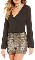 GB Wrap Front Bell Sleeve Surplice V-Neck Blouse