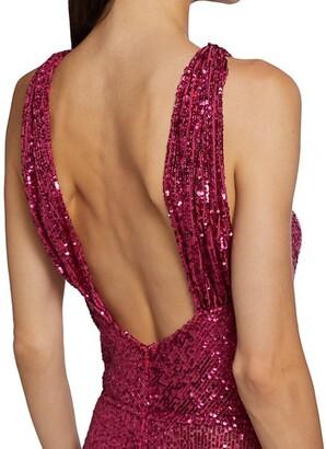 Naeem Khan Resort Sequin Halterneck Gown