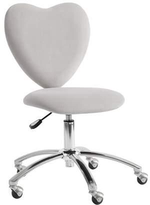 Pottery Barn Teen Velvet Gray Heart Airgo Desk Chair, Armless