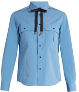 Toga Detachable-bow taffeta shirt