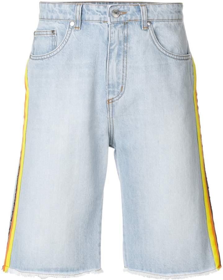 MSGM side stripe denim shorts