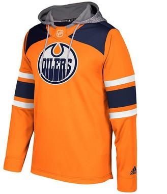 adidas Men's Orange/Navy Edmonton Oilers Silver Jersey Pullover Hoodie