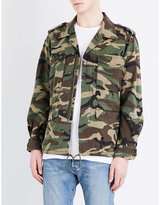 Saint Laurent Camouflage Embroidered Cotton Jacket