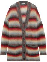 Chloé Oversized Striped Mohair-blend Cardigan - Burgundy