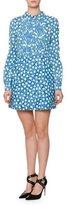Valentino Long-Sleeve Star-Print Shirtdress, Blue/Multi