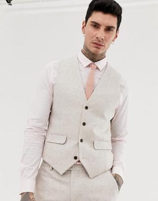 Harry Brown wedding wool blend slim fit summer tweed suit vest-Cream