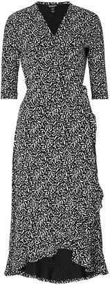 Baukjen Neesha Wrap Dress In Black & White Brush Print