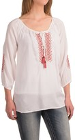 Roper Challis Geometric Embroidered Peasant Blouse - 3/4 Sleeve (For Women)