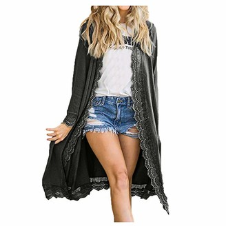 Kalorywee Sale Clearance Outwear KaloryWee Chiffon Kimono Cardigan Women's Cover Up Long Sleeve Waterfall Open Front Blouse Lace Edged Loose Tops Lightweight Casual Boho Style Sarongs Dark Gray