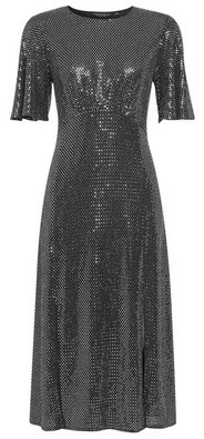 Dorothy Perkins Womens Silver Sequin Angel Sleeve Midi Dress, Silver