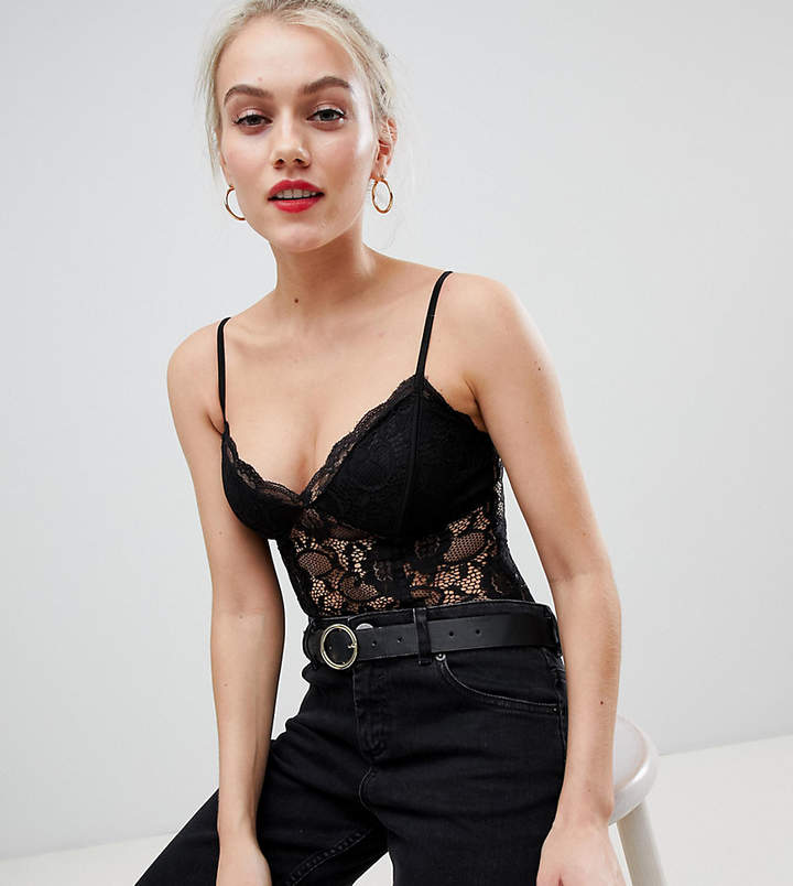 Petite lace cami body in black