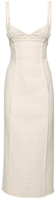 Jacquemus Fitted Linen & Viscose Midi Dress