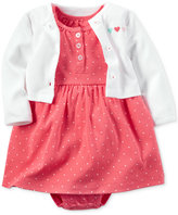 Carter's Baby Girls' 2-Pc. Hello Cutie Heart-Print Bodysuit Dress & Cardigan Set