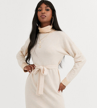 Asos Tall ASOS DESIGN Tall cowl neck belted midi dress in marl