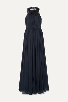 Jason Wu Collection Open-back Ruffle-trimmed Tulle And Silk-chiffon Gown - Navy