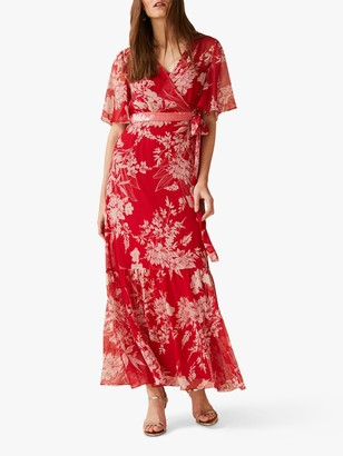 Phase Eight Amy Printed Woven Maxi Dress, Carmine