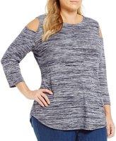 Allison Daley Plus Cold-Shoulder Melange Jersey Tunic
