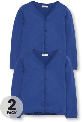 Very Girls 2 Pack Knitted School Cardigans - Royal Blue