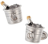 Jan Leslie Sterling Silver & Crystal Quartz Champagne Bucket Cuff Links