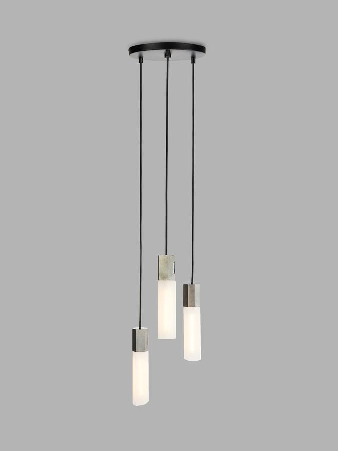Tala Basalt LED Triple Pendant Cluster Ceiling Light, Stainless Steel