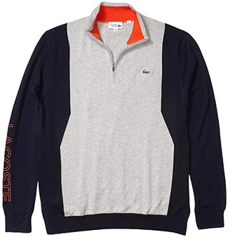 Lacoste Long Sleeve 1/4 Zip Sweater (Silver Chine/Navy Blue/Gladiolus) Men's Clothing