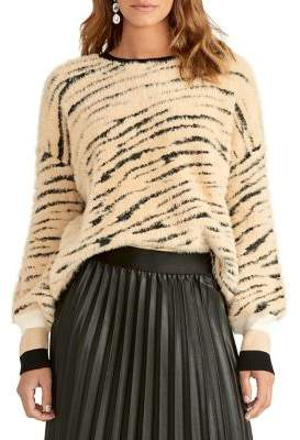 Rachel Roy Fuzzy Printed Crewneck Sweater