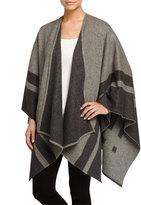 Neiman Marcus Border-Stripe Wool Wrap, Medium Gray/Charcoal