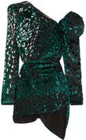Saint Laurent One-shoulder Embellished Devoré Velvet Mini Dress - Emerald