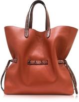 Jil Sander Open Brown Leather Lace Shopper Bag