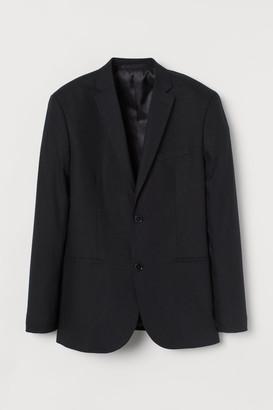 H&M Slim Fit Linen-blend Blazer - Black