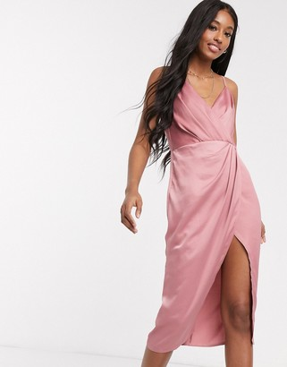 Little Mistress satin wrap dress in pink