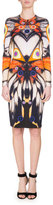 Givenchy Long-Sleeve Butterfly-Print Jersey Dress, Multi