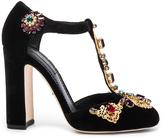 Dolce & Gabbana Jewel Embellished Velvet T Strap Heels