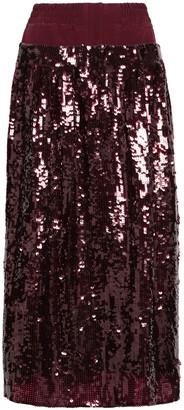 Tibi Sequined Silk-crepe Midi Skirt
