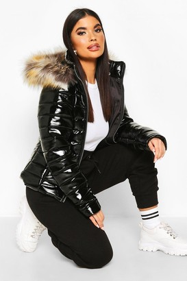 boohoo Petite High Shine Faux Fur Trim Hooded Coat