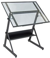 studio designs Solano Adjustable Tilt Table - Charcoal/Clear Glass