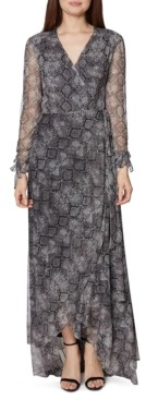 Betsey Johnson Snake-Embossed Wrap Maxi Dress
