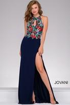 Jovani Lace Halter Long Dress with High Slit 48916