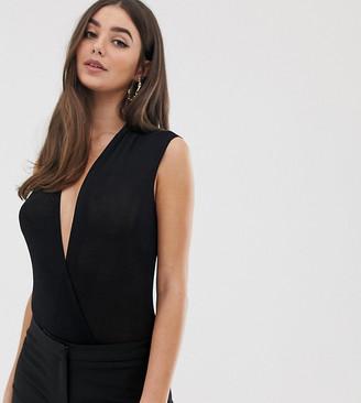 Flounce London Tall wrap front plunge bodysuit in black