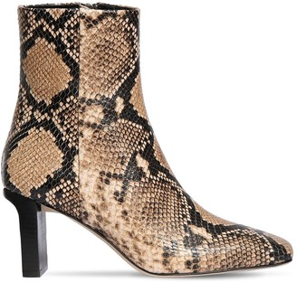 AEYDĒ 75mm Billy Snake Print Leather Boots